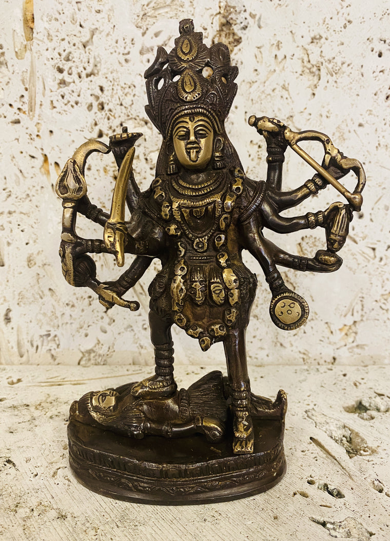 Hand Finished Brass Kali Statue - Goddess of Wealth 20cm x 14cm