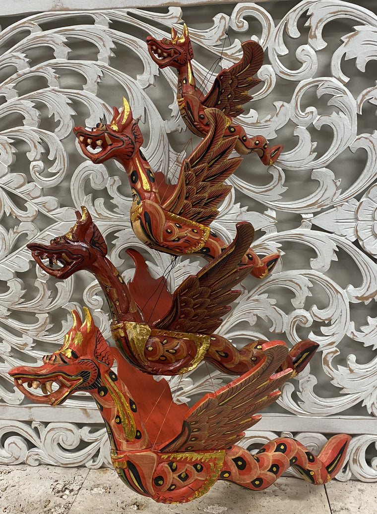 Hand Carved Flying Dragon Spirit Chasers Red- Available in 4 Sizes