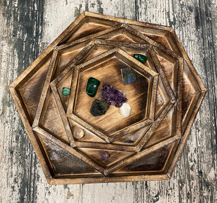Arbesia Wood Mandala table display for your Crystal Collection! 20