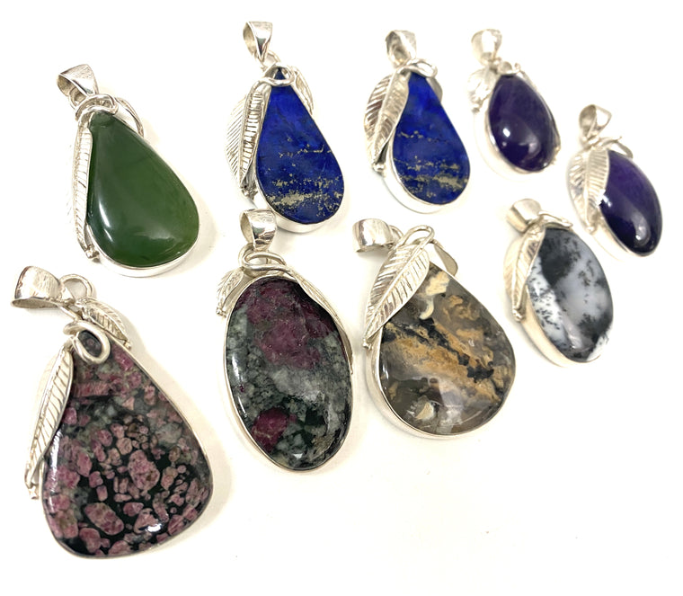 Large Stone Sterling Silver Leaf Pendants - Available in 7 Stones