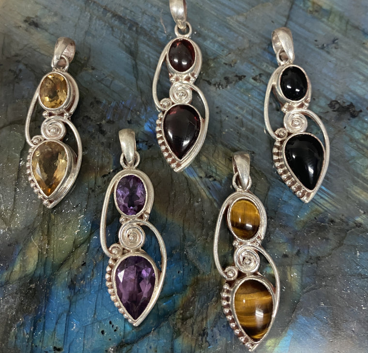 Sterling Silver Pendants from Nepal - Available in 5 stones