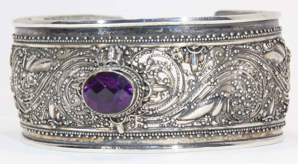 Beautifully Detailed Sterling Silver African Amethyst Cuff Bracelet