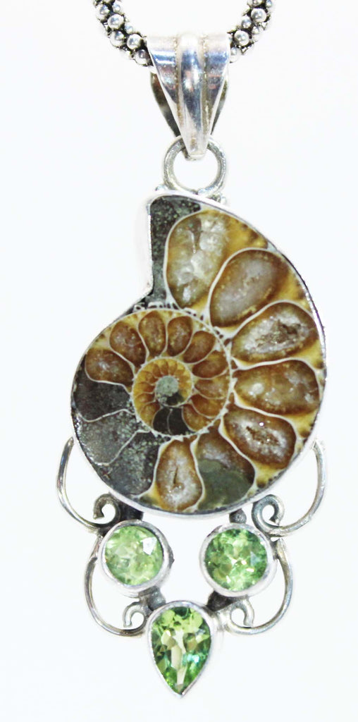 Sterling SIlver Ammonite and Peridot Pendant