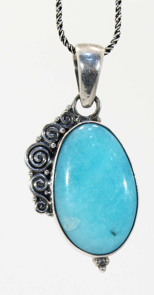 Sterling Silver Amazonite Spiral Pendant