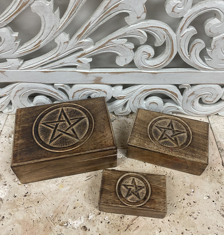 Set of Three Hand Carved Mango Wooden Boxes with Pentagram