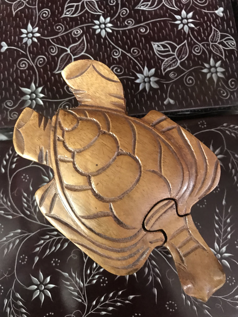 Handcarved Wooden Turtle Puzzle Boxes
