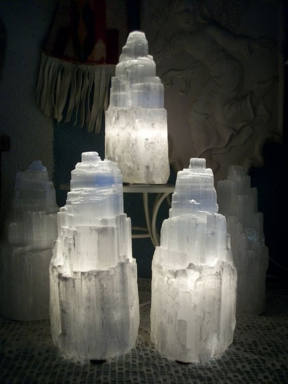 Selenite Mountain Lamp