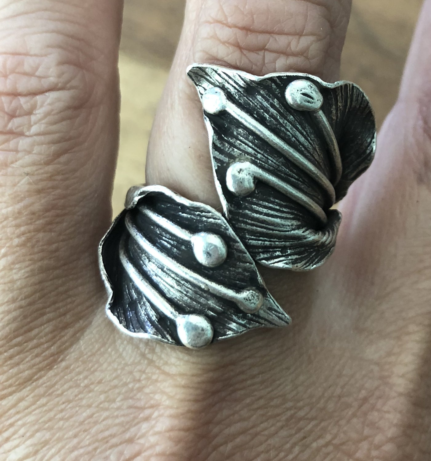 Handmade Sterling Silver Thai Hill Tribe Ring Leaf