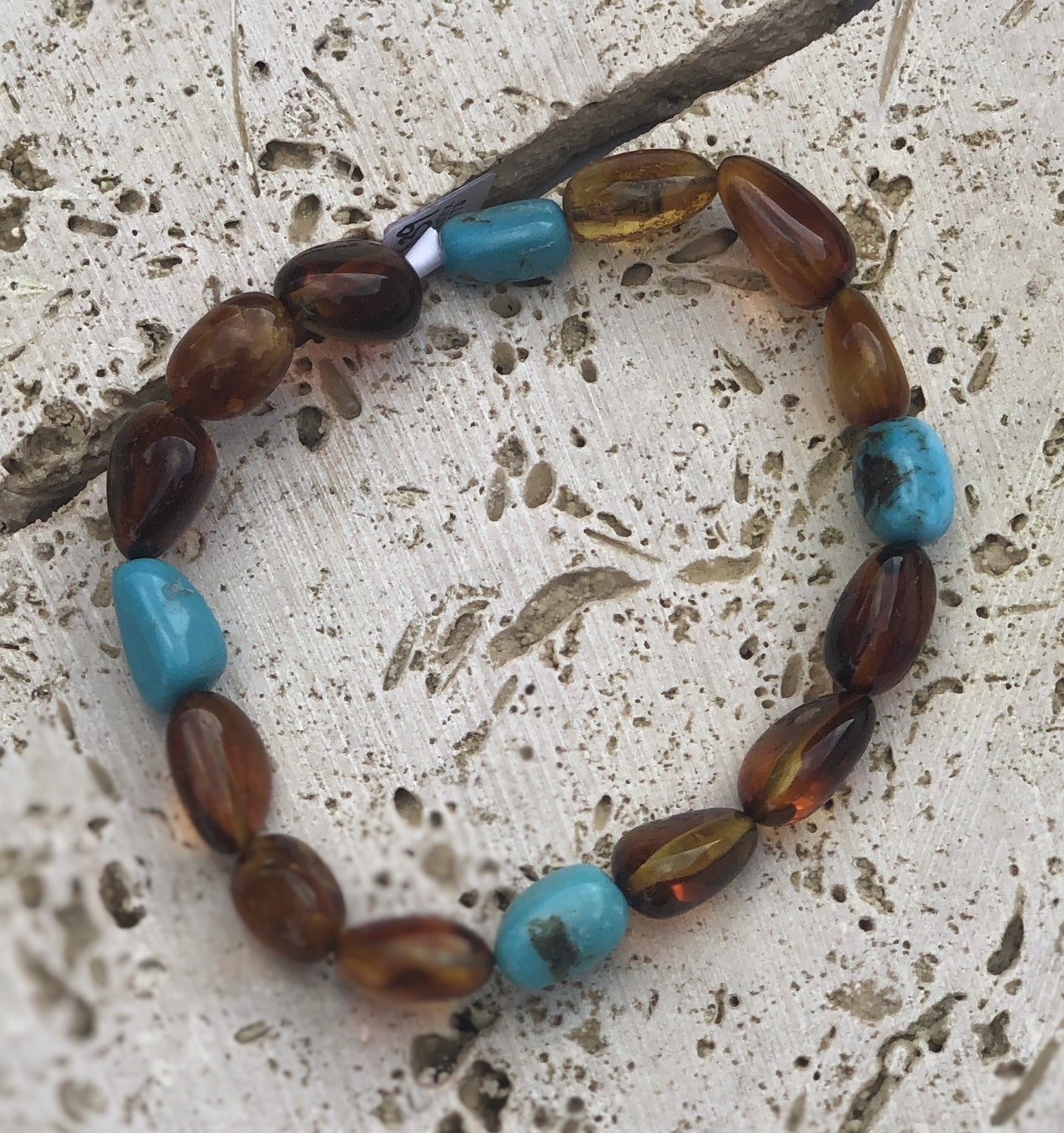 Cognac Amber and Turquoise Stretchy Bracelet