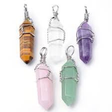 Crystal Point Wrapped Pendants