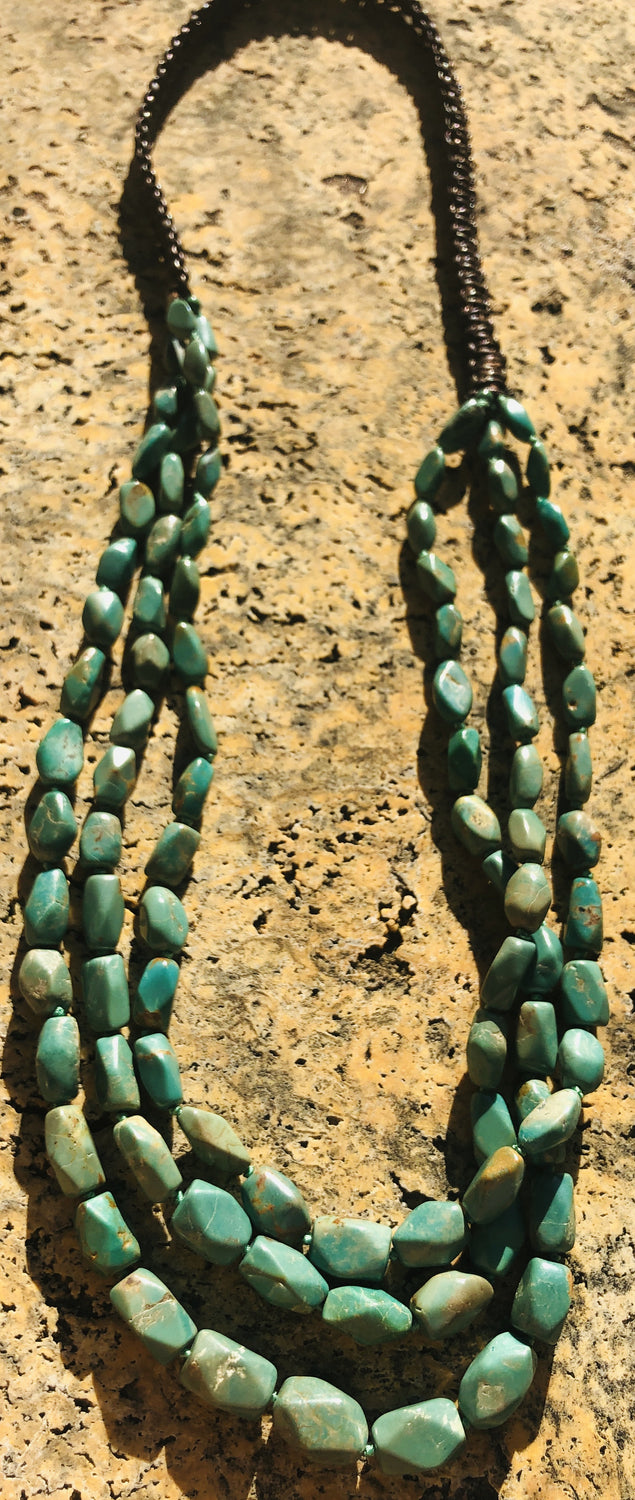 "Triple Strand 32"" Natural Turquoise Necklace"