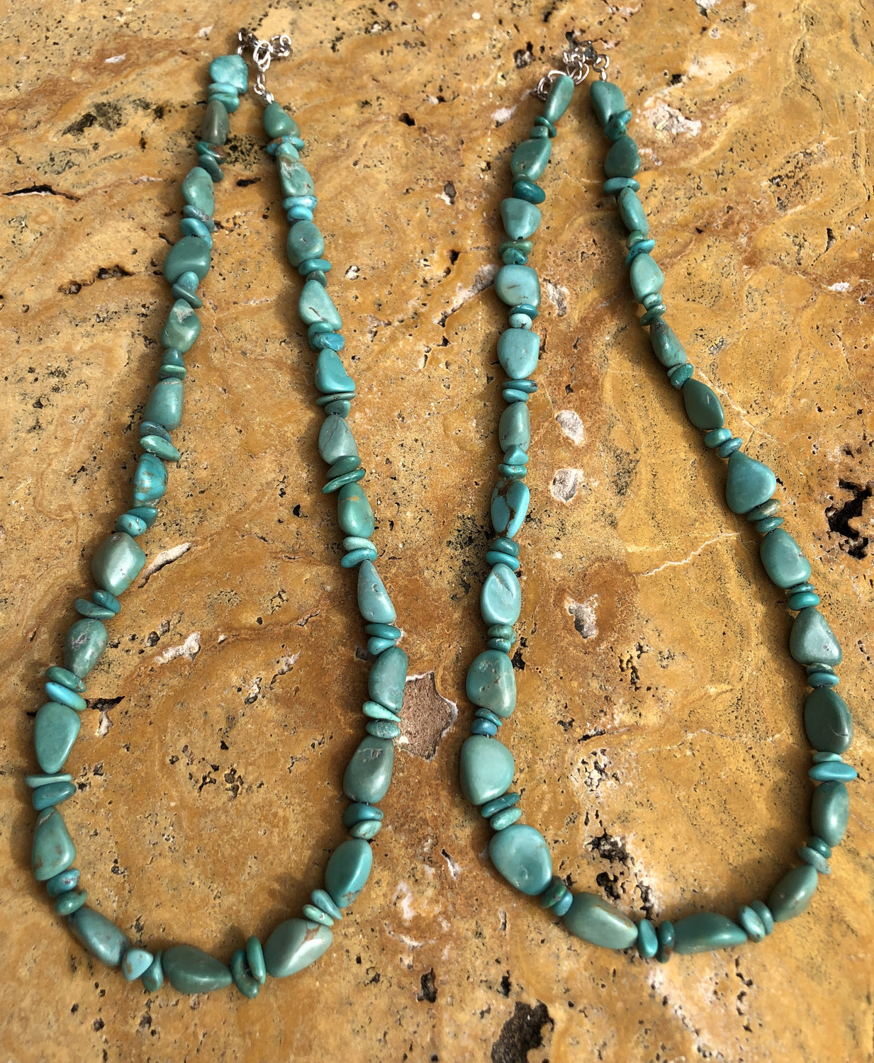 "18"" Natural Turquoise Nugget Necklace"