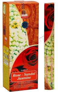 Darshan Rose Sandal Jasmine   incense 20 gram hex Pack