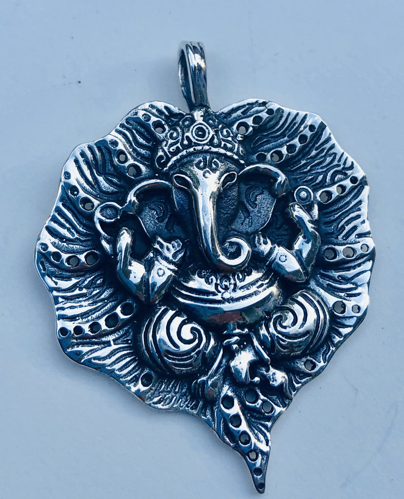 Sterling Silver Ganesha on Leaf Pendant