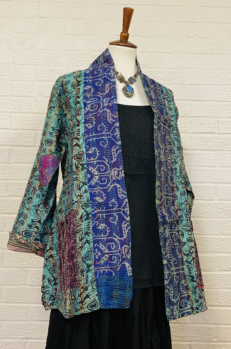 Reversible Silk Saree Kantha Jacket - Fine Detail Sewing!