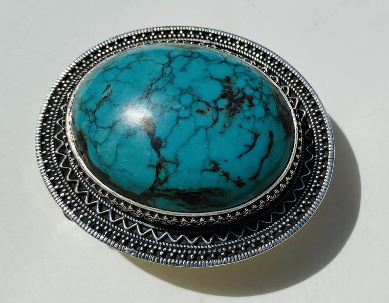 Handmade Sterling Silver Natural Turquoise Belt Buckles