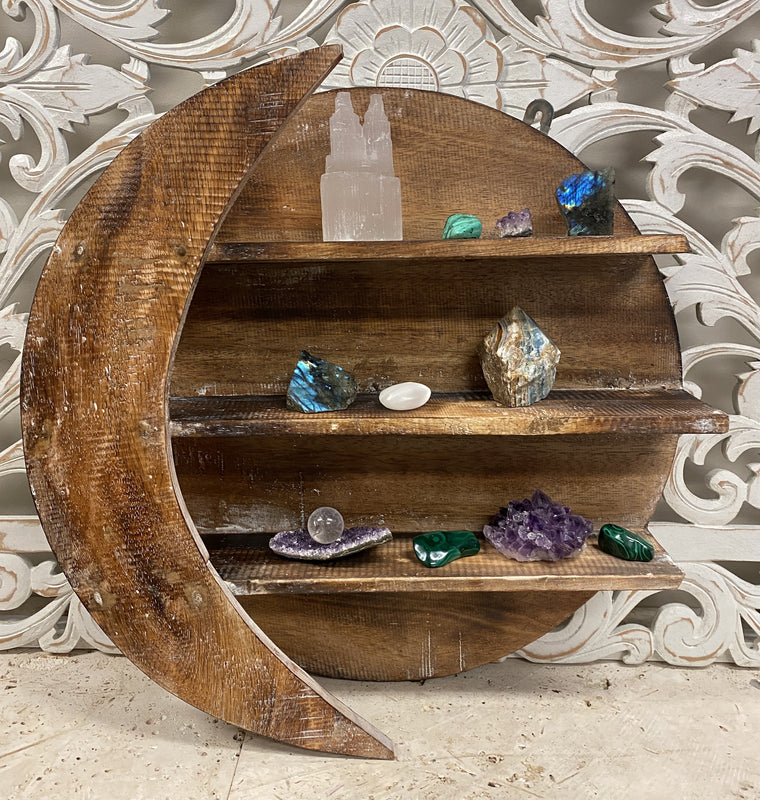 Arbesia Wood Cresent Moon Wall shelf for your Crystal Collection!