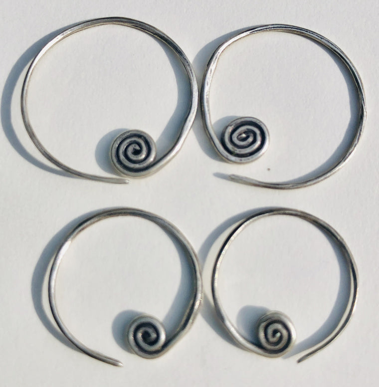 Sterling Silver Flat Thai Hill Tribe Spiral Earrings - 2 Sizes
