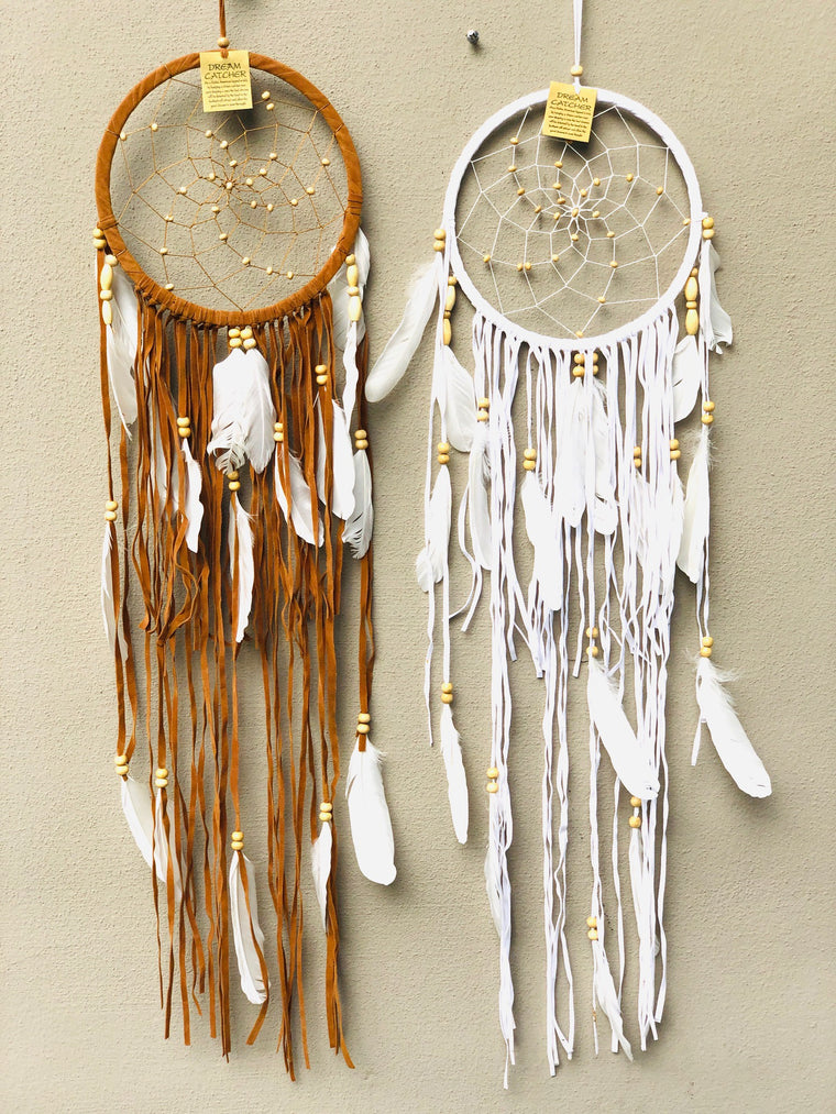 Suede Dream Catchers with Swan Feathers Black, White or Natural/ Long Fringe