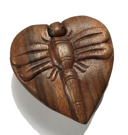 Handcarved Wooden Dragonfly Heart Puzzle Boxes