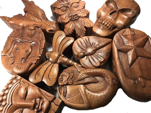 Handcarved Wooden SKull Puzzle Boxes