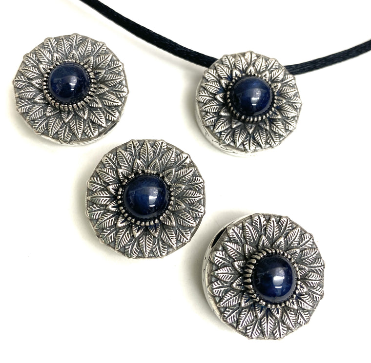 Rare Star Sapphire Double Sided Flower Slider Pendants