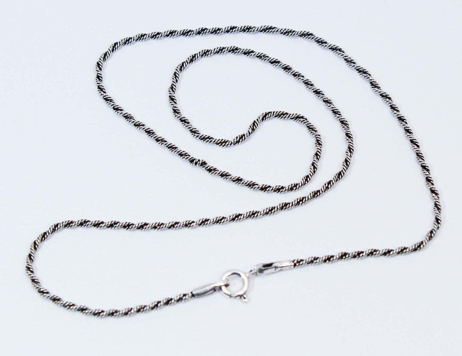 Sterling Silver Oxidized Rope Chain 1.6mm