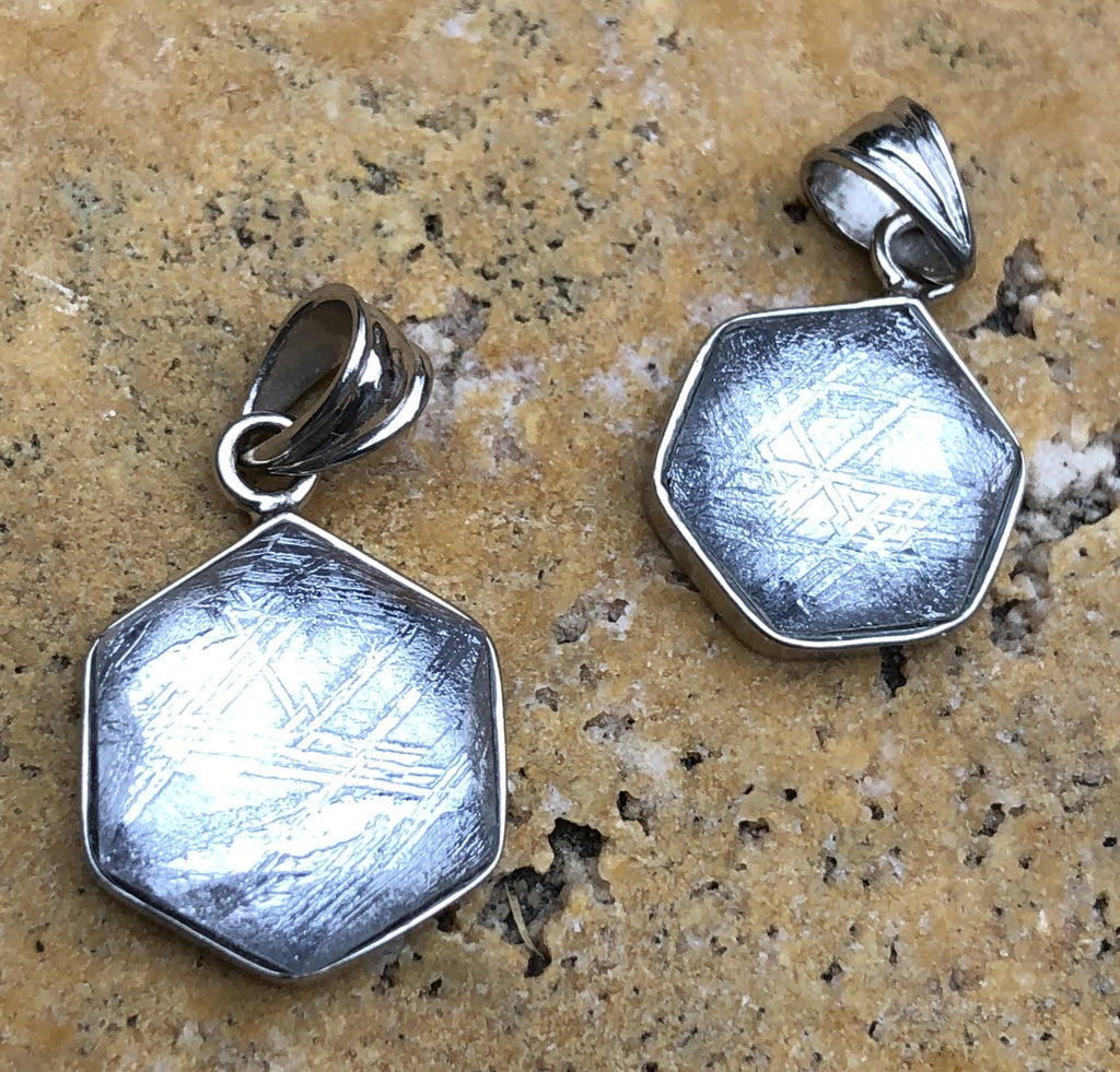 Sterling Silver Faceted Iron Meteorite Pendant