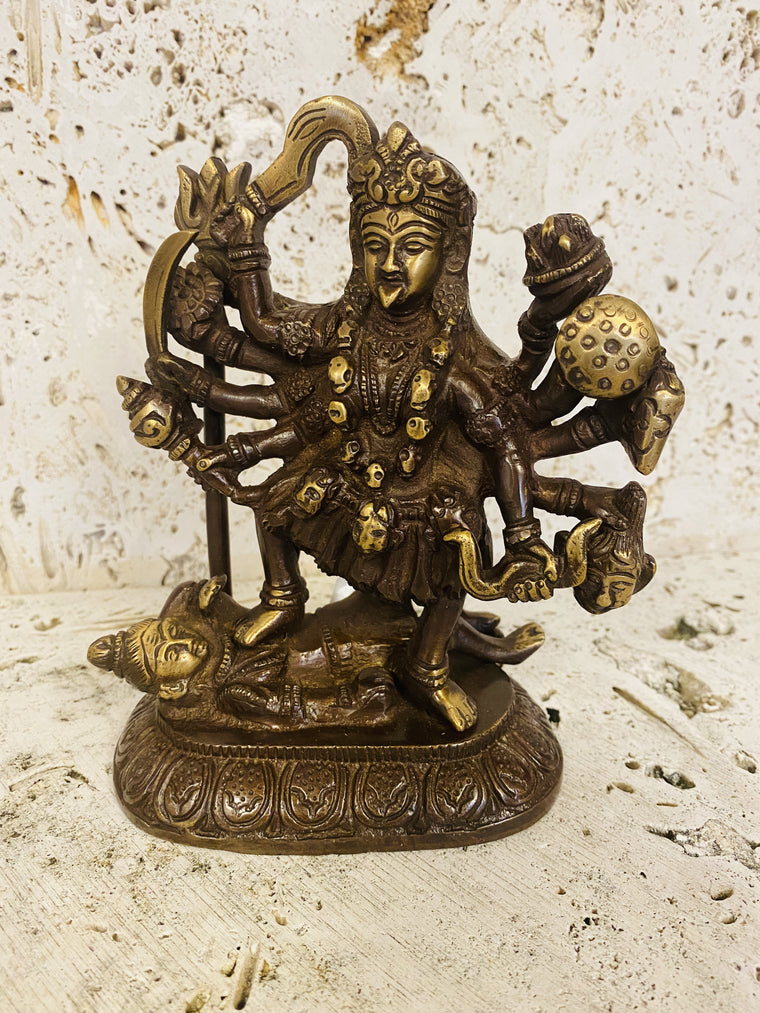 Hand Finished Brass Kali Statue - Goddess of Wealth 16cm x 13cm