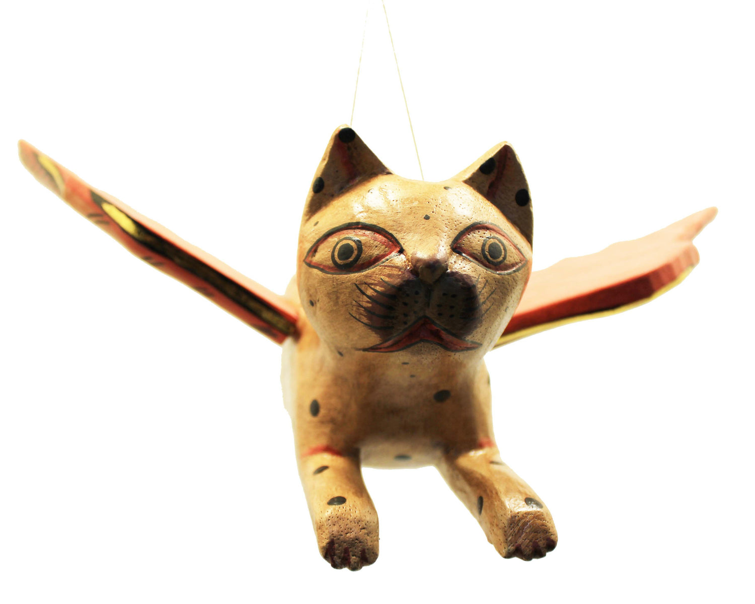 Hand Carved Flying Kitty spirit chaser Tan & Black Polka Dot