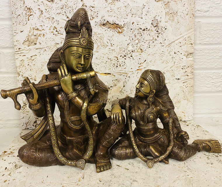 Hand Finished Brass Krishna and Radha Statue set of 2-- 37cm x 27cm