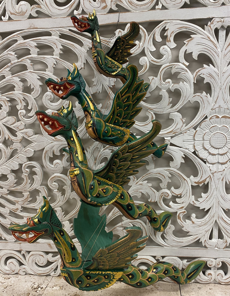 Hand Carved Flying Dragon Spirit Chasers Green- Available in 4 Sizes