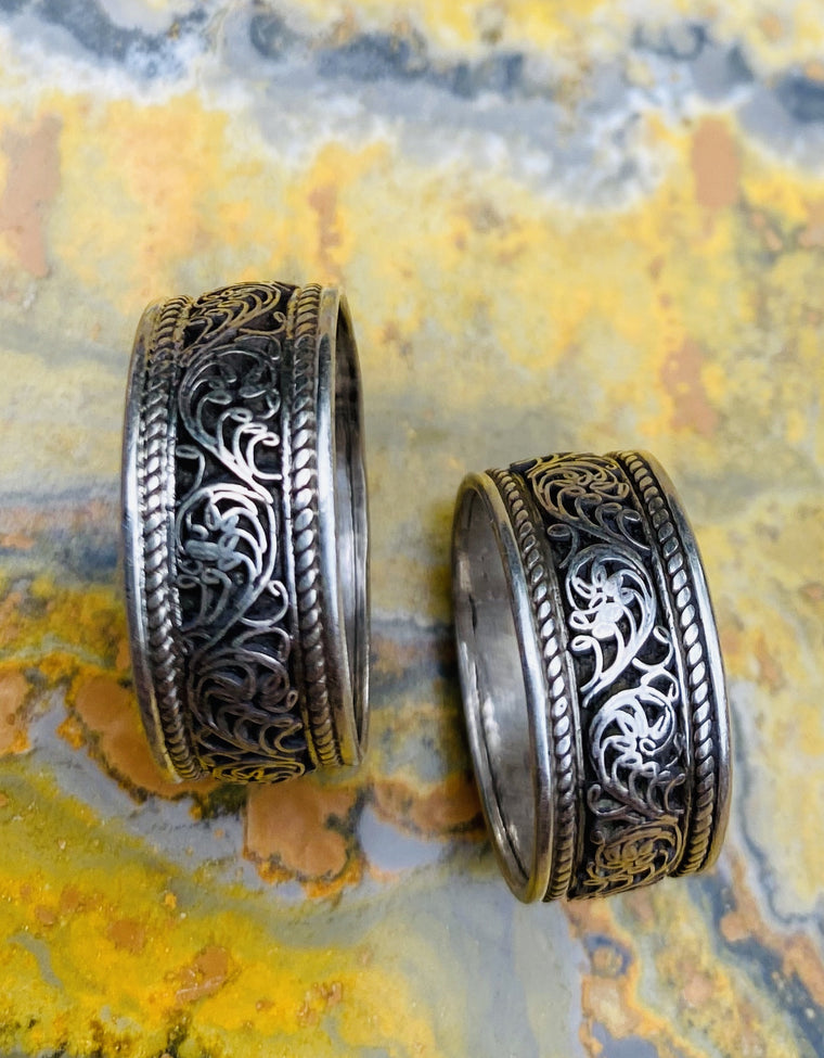 Sterling Silver Filligree Band Ring from Nepal - Sizes 4-11