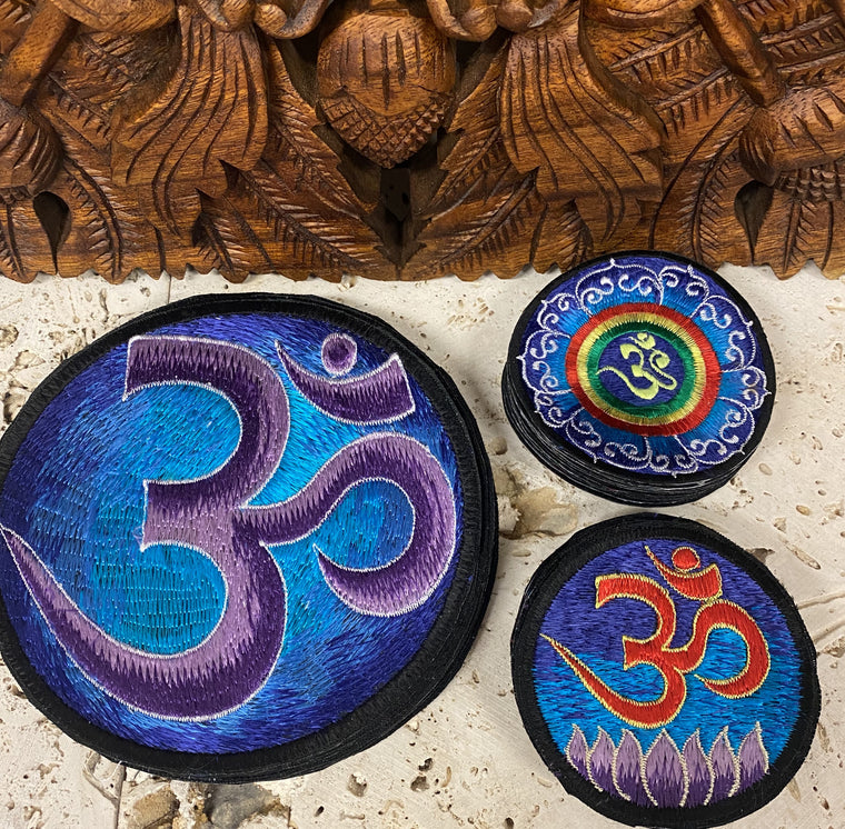 Handmade Blues Om Mandala Embroidered Patches from Nepal