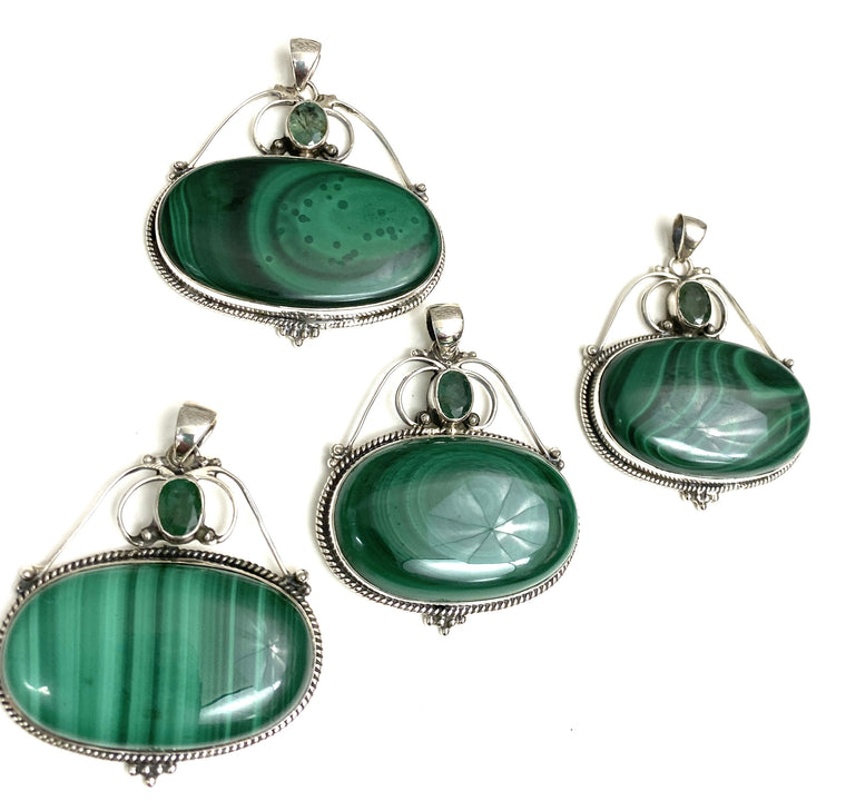 Sterling Silver Two Stone Malachite & Emerald  pendants