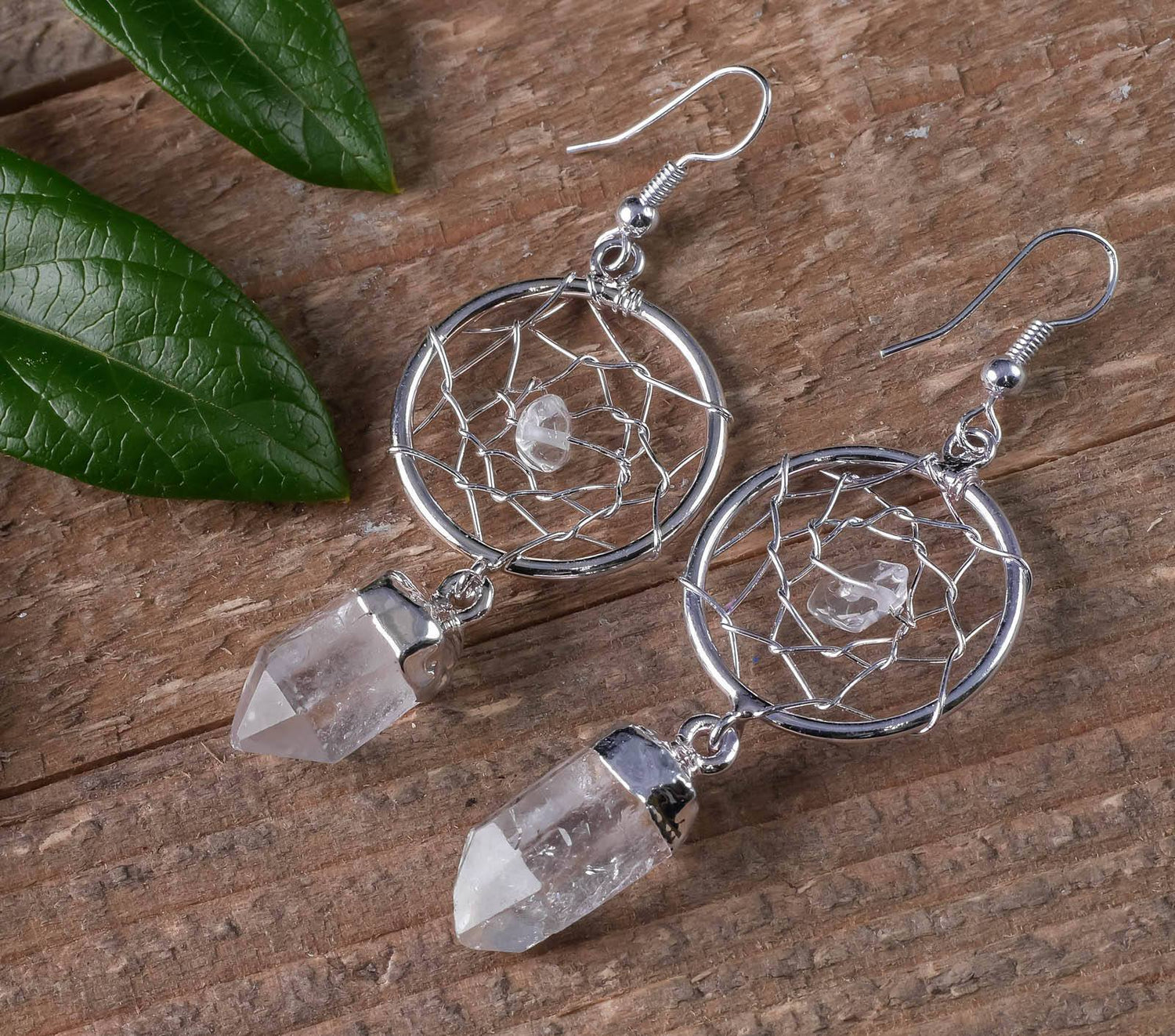 Dream Catcher Earrings with Crystal Point Drops - Available in 4 Stones