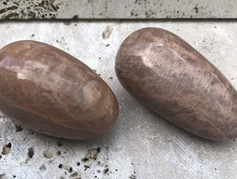 Large Peach Moonstone Eggs / Yoni Eggs from India
