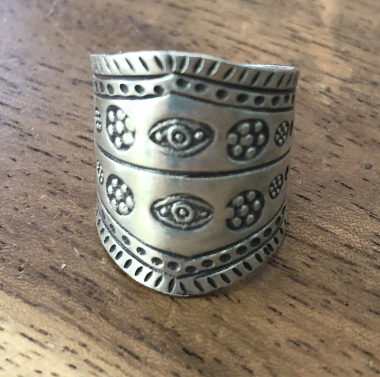 Handmade Sterling Silver Thai Hill Tribe Double Eye Ring