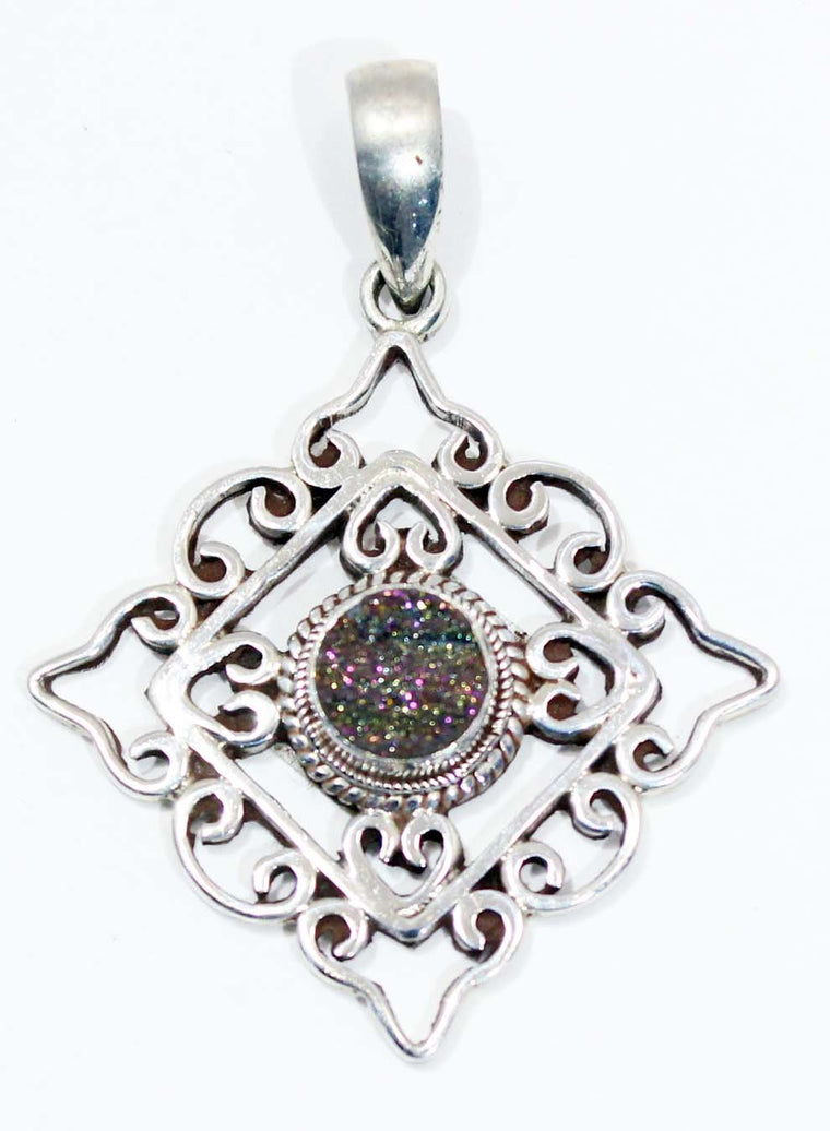 Sterling Silver Mandala Pendant - Available in 3 stones