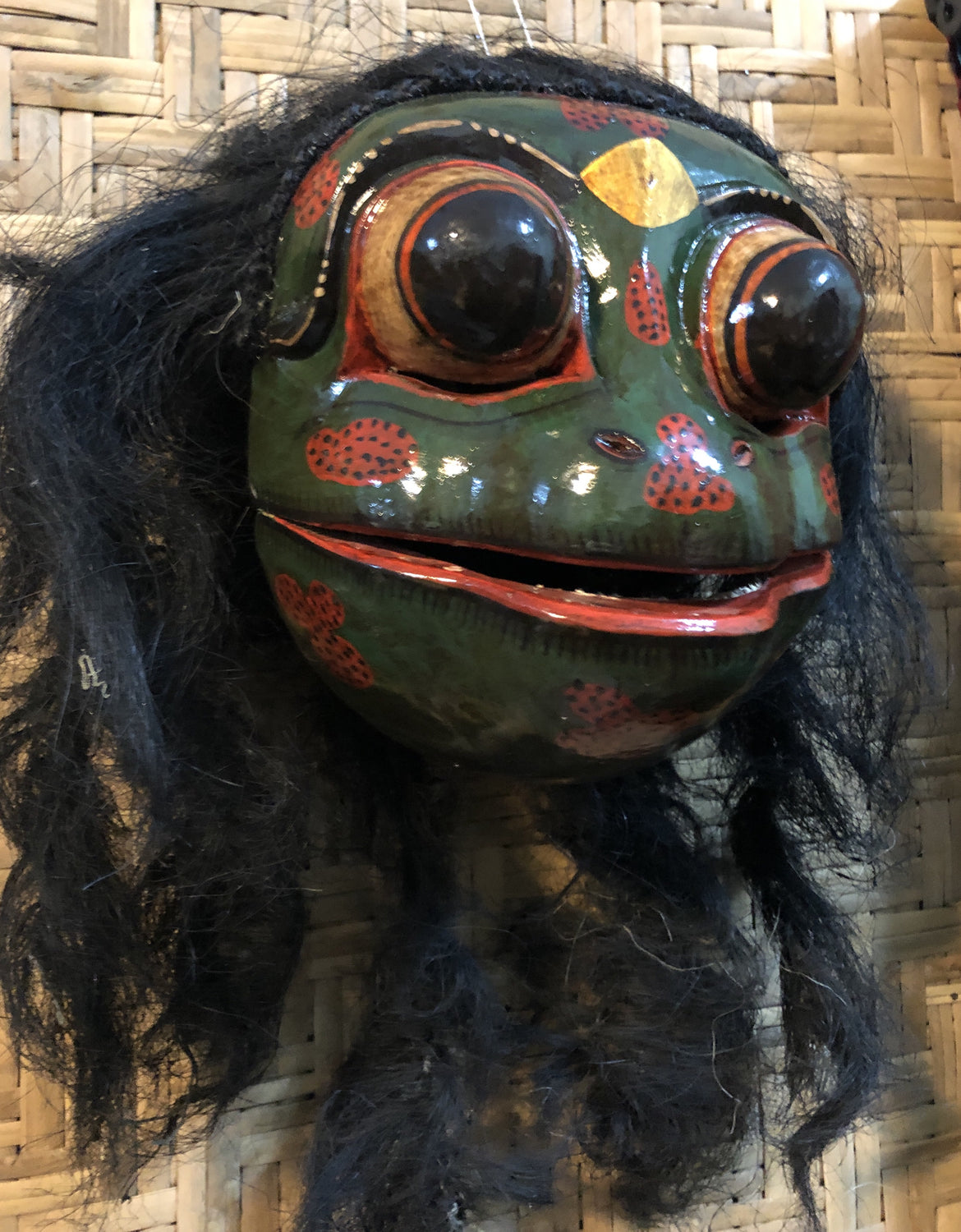 Wearable Hand Carved & Painted Frog Masks