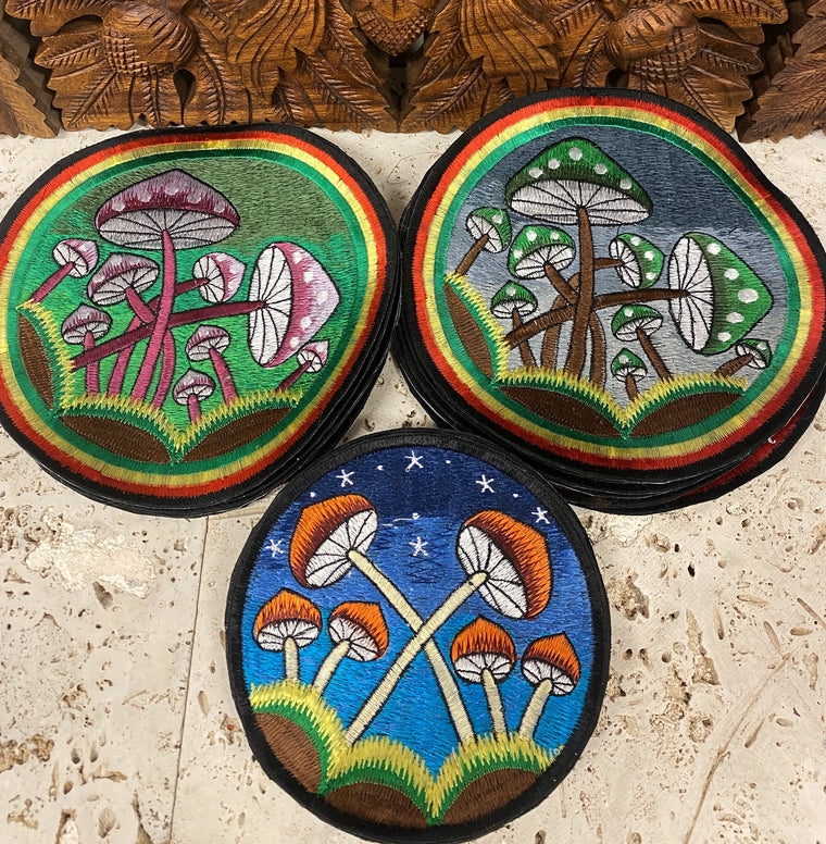 Handmade Mushroom Embroidered Patches from Nepal