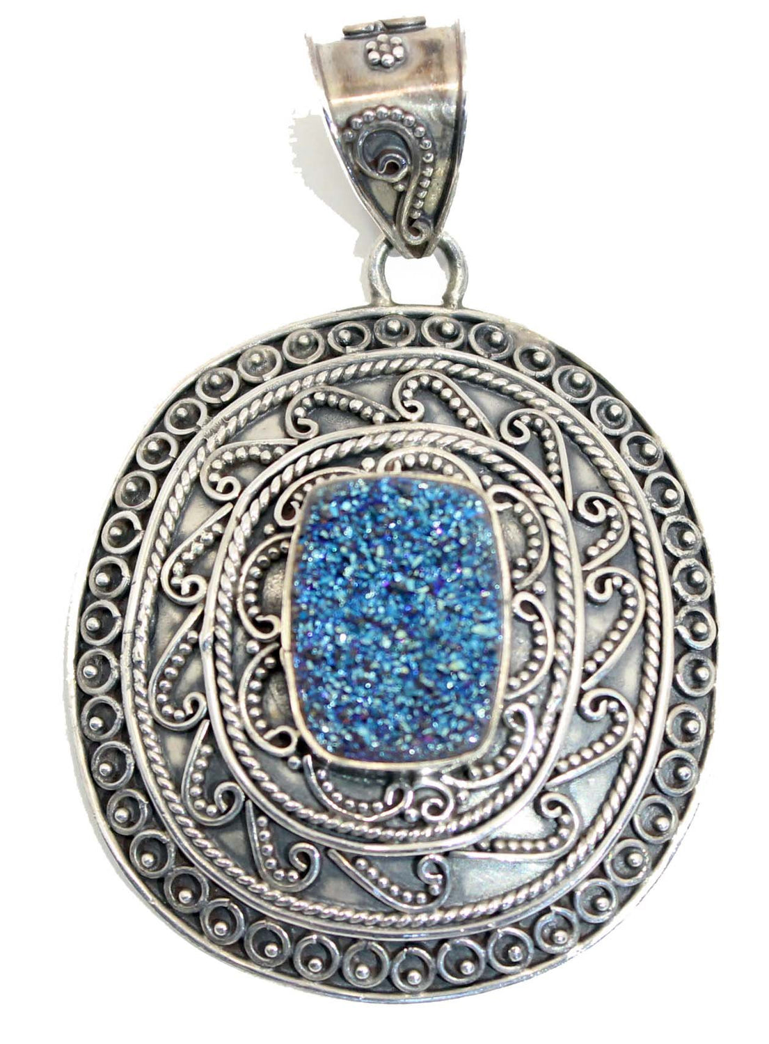 Large Beautifully Detailed Sterling Silver Druzy Pendant