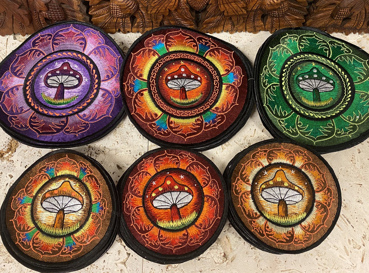 Handmade Mushroom Mandala Embroidered Patches from Nepal Fire