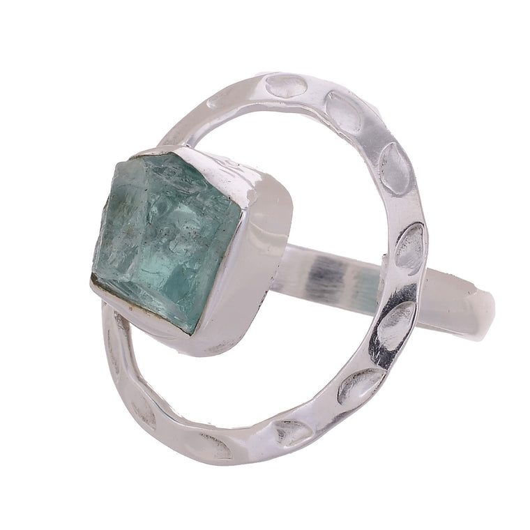 Sterling Silver Raw Gemstone Hand Hammered Ring - Available in 6 stone