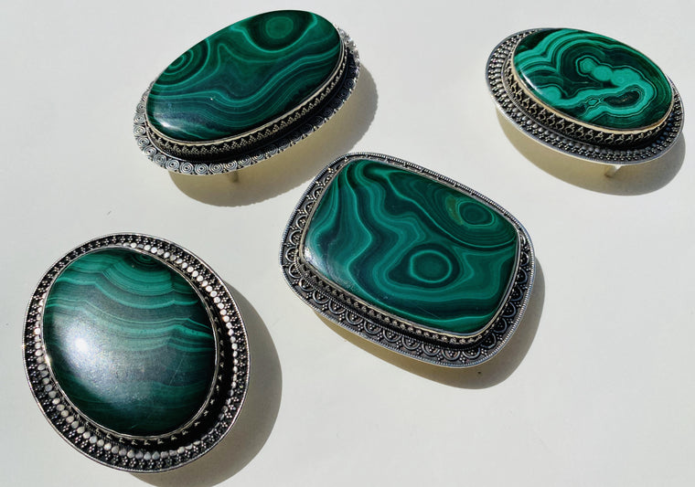 Handmade Sterling Silver Malachite Belt Buckles