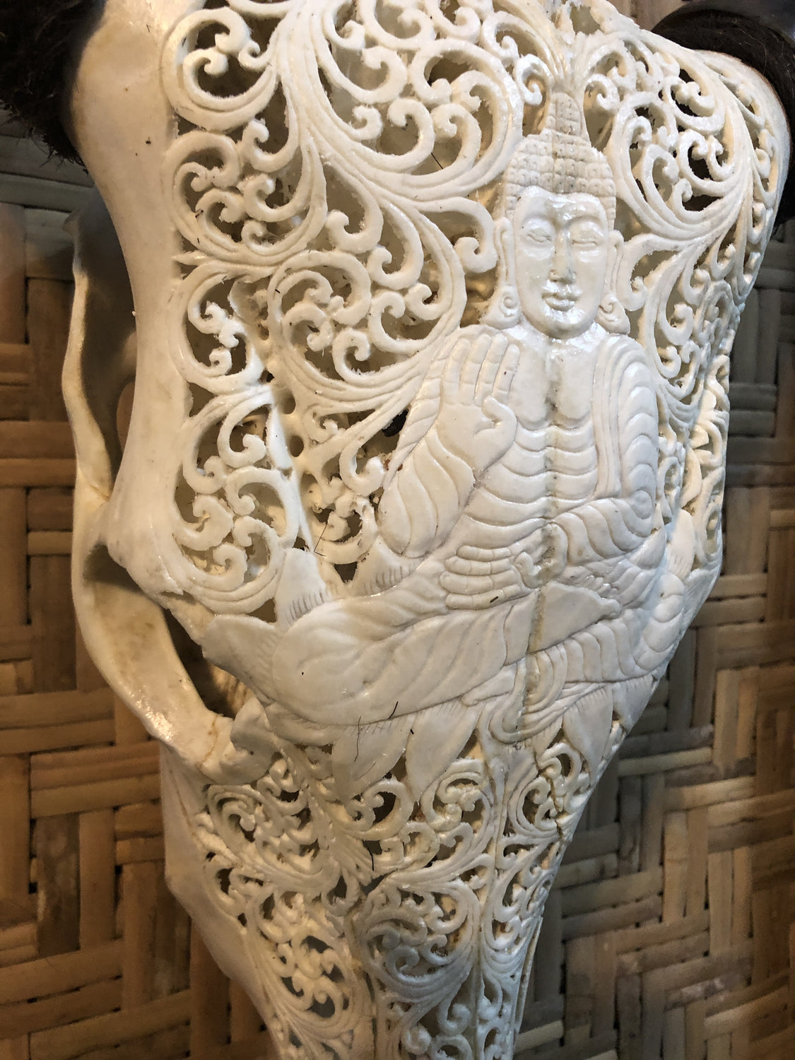 Intricately Carved Buffalo Skulls with Buddha