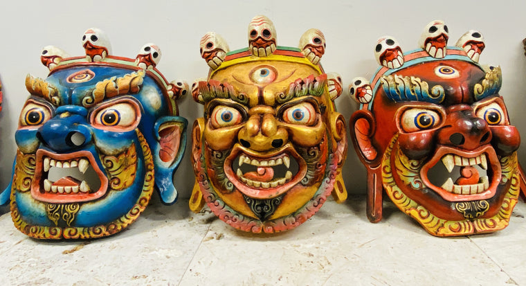 XL Hand Carved and Painted Bhairav Mask From Nepal Guardian of the Wheel of Life