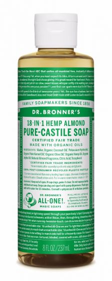 Dr Bronners Pure-Castile Liquid Soap Almond Face, body, hair—food, dishes, mopping, pets—the best for human, home and Earth!