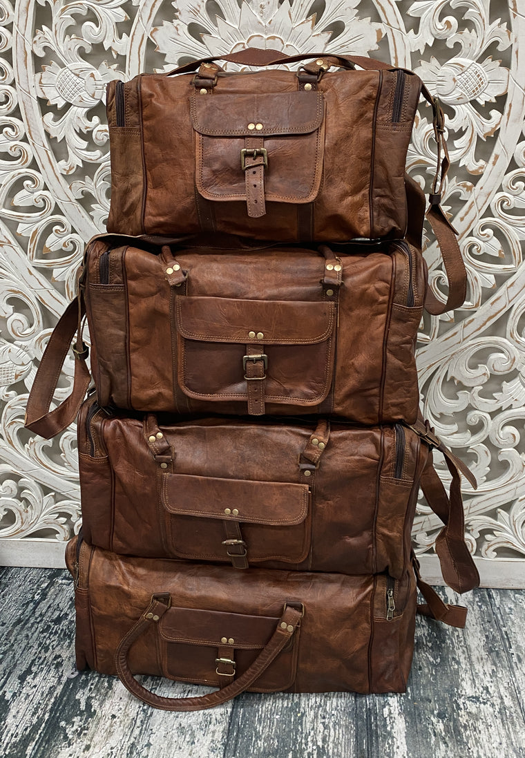 Camel Leather Travel Duffel Bags - Available in Sizes 18