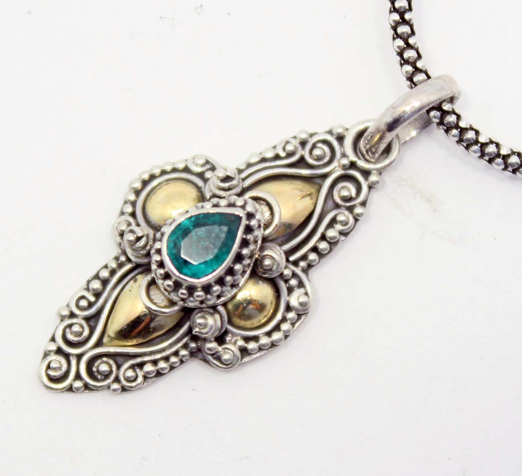 Beautifully Detailed Gold & Sterling Silver Emerald Pendant